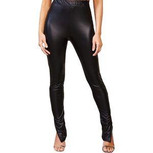 SHEIN Elastic Waist Split Hem PU Leather Pants